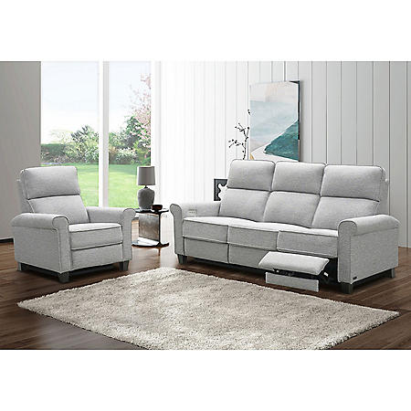 Montreal 2-Piece Power Fabric Reclining Sofa and Armchair Set