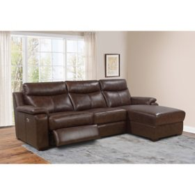 Nico Top-Grain Leather Power Reclining Sectional with Chaise (Assorted Colors)