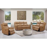 Enzo 3-Piece Top-Grain Leather Set with Power Reclining Set and Power Headrests, Assorted Colors