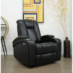 Davis Top-Grain Leather Power Theater Recliner, Assorted Colors