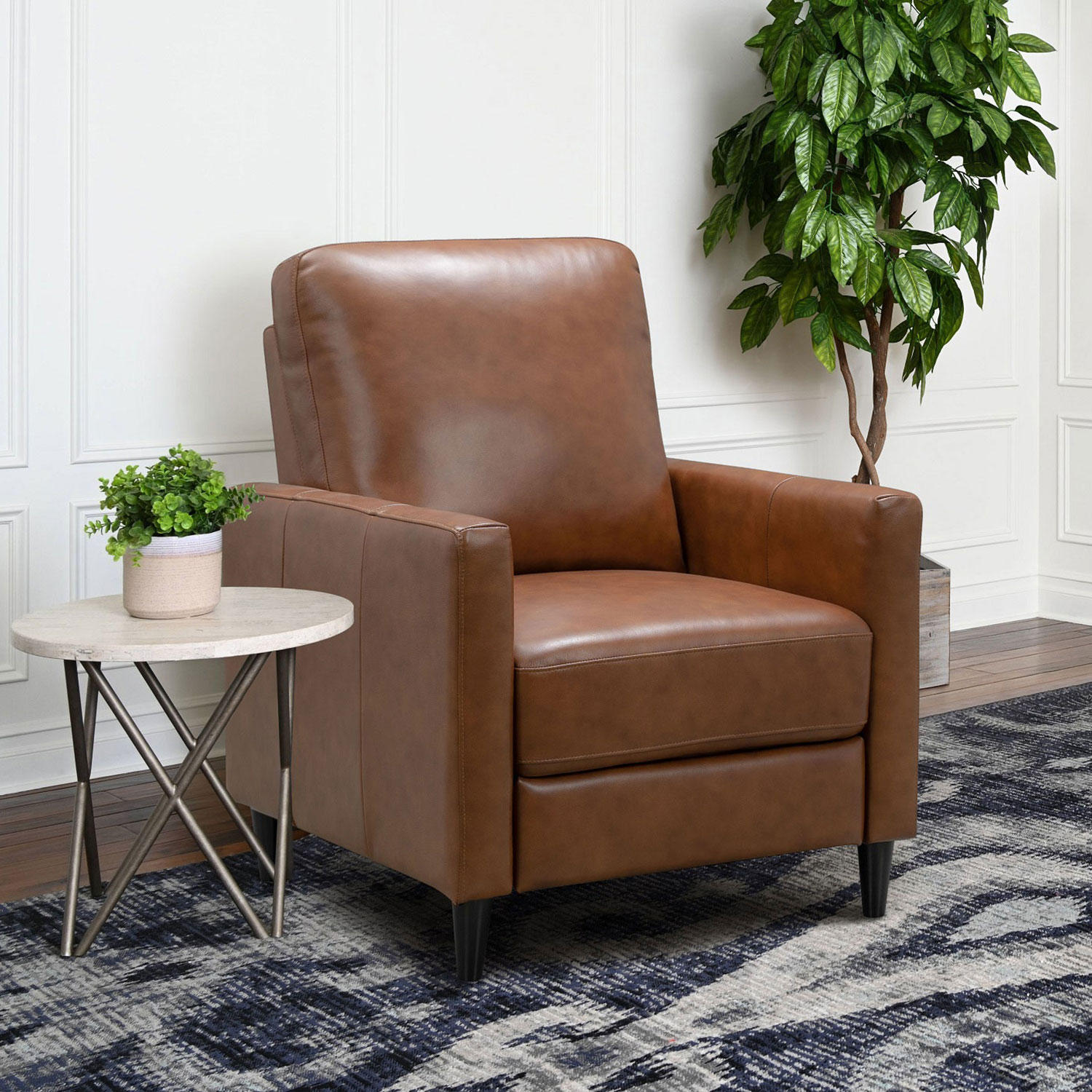 Abbyson Living Crestview Top-Grain Leather Pushback Recliner (Assorted Color)