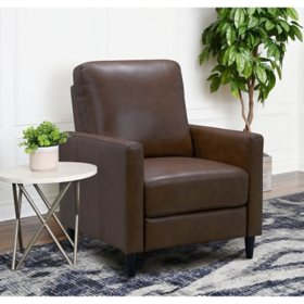Crestview Top-Grain Leather Pushback Recliner, Assorted Colors