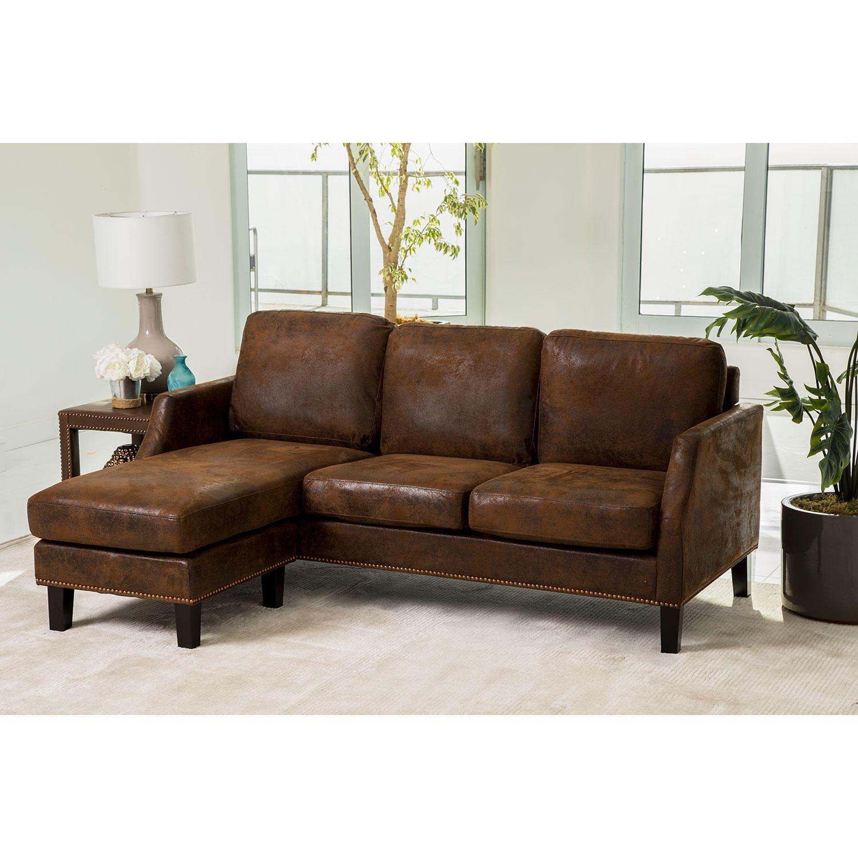 Liam Dark Brown Reversible Sectional Sofa