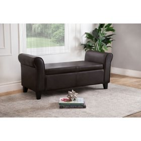 Harlow Bonded Leather Ottoman Storage Bench, Brown