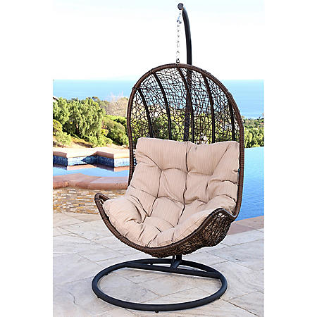 Agoura Outdoor Brown Wicker Egg-Shaped Swing Chair