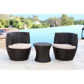 Cambria Outdoor Espresso Brown Wicker 3-Piece Bistro Chair Set