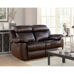 Incredible Manhattan Top Grain Leather Reclining Loveseat Sams Club Pabps2019 Chair Design Images Pabps2019Com