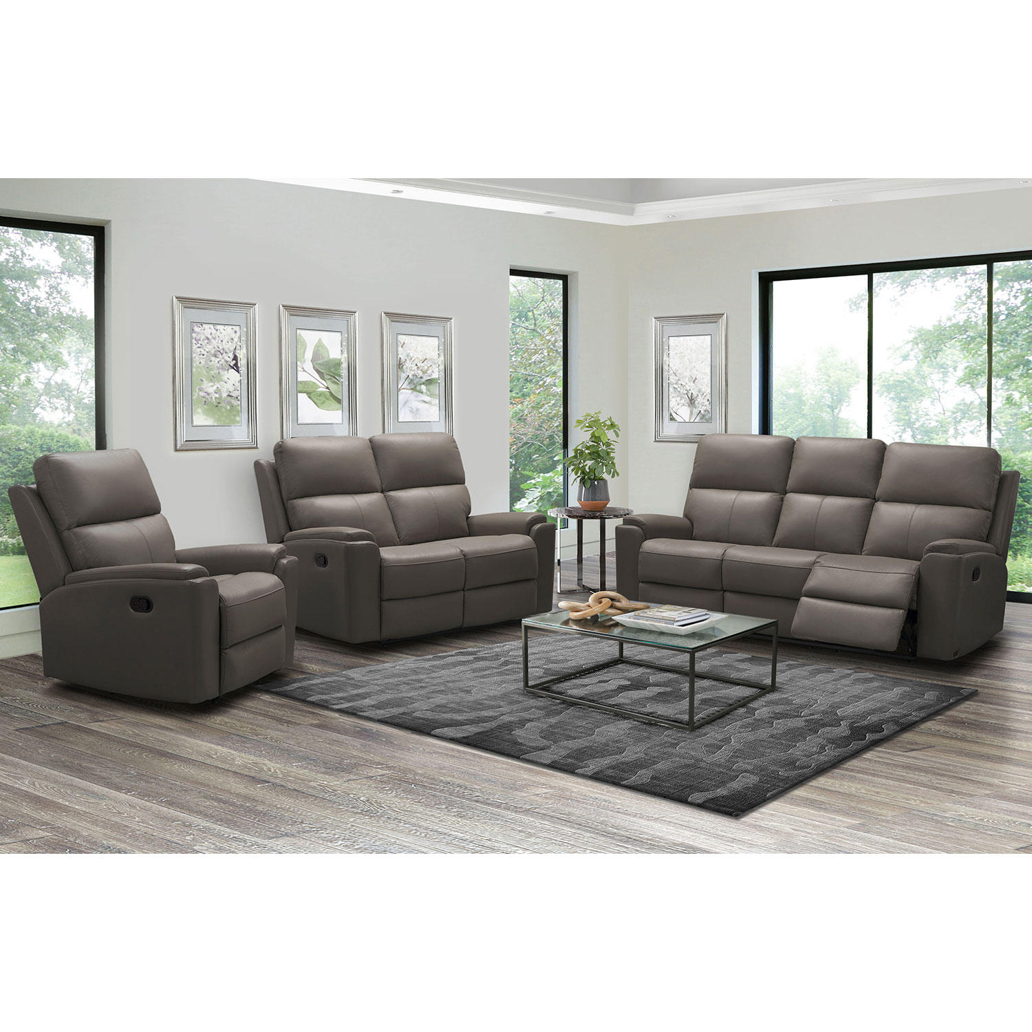 3-Piece Abbyson Living Everett Top-Grain Leather Reclining Sofa Set