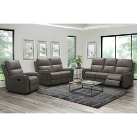 Everett Top-Grain Leather 3-Piece Reclining Sofa Set, Assorted Colors