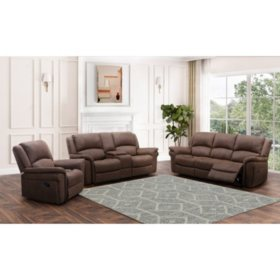 Thomas 3-Piece Fabric Reclining Sofa Set, Dark Brown