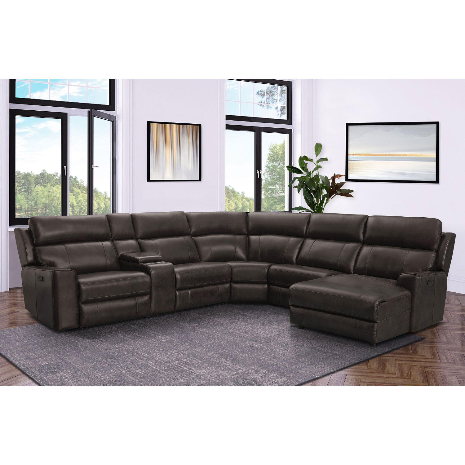Conway Top-Grain Leather 6-Piece Reclining Sectional Sofa