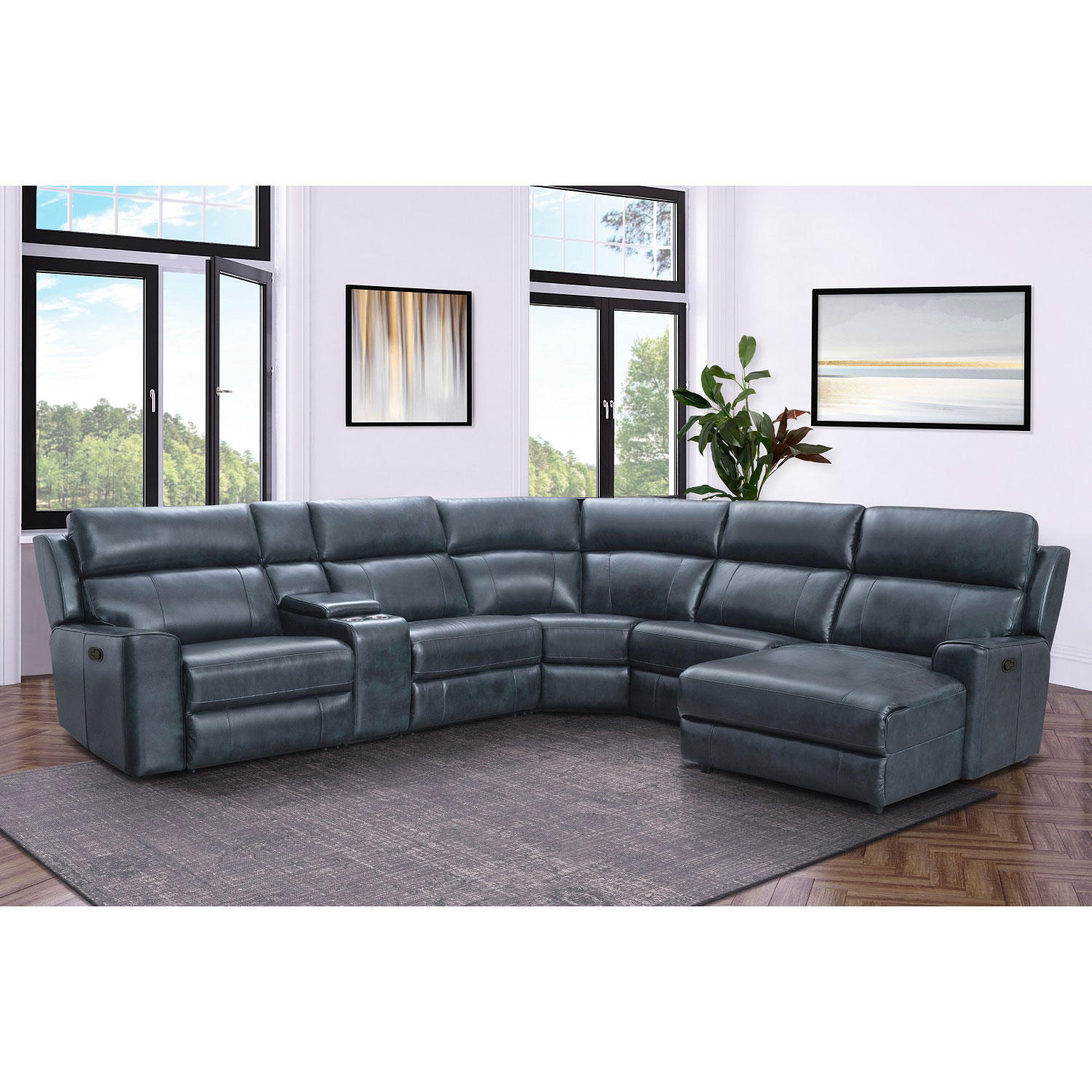 Conway Top-Grain Leather 6-Piece Reclining Sectional with Chaise