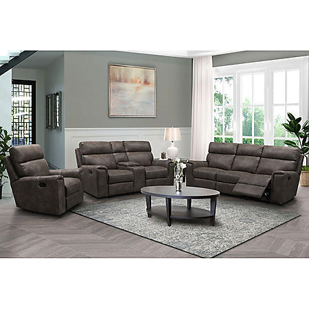 Denver Fabric 3-Piece Reclining Sofa Set, Assorted Colors