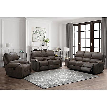 Memphis Fabric 3-Piece Reclining Sofa Set, (Assorted Colors)