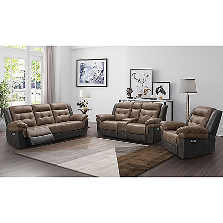 Easton Two-Tone Fabric 3-Piece Reclining Set
