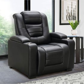 Harper Top-Grain Leather Theater Power Recliner With Power Headrest, Assorted Colors