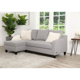 Courtney Sectional with Pullout Bed, Gray