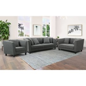 Luna Fabric Sofa, Loveseat and Armchair Set, Gray
