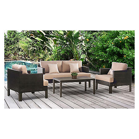 Maui Outdoor 4-Piece Patio Seating Set with Sunbrella Fabric (Assorted Colors)