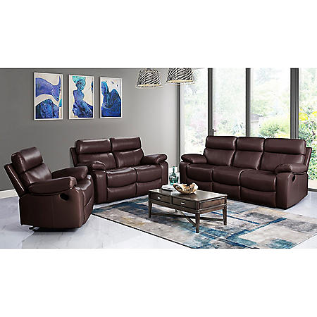 Strafford Top-Grain Leather Reclining 3-Piece Set, Assorted Colors