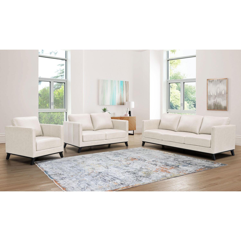 Abbyson Living Madison Mid-Century Top-Grain Leather 3-Piece Sofa Set