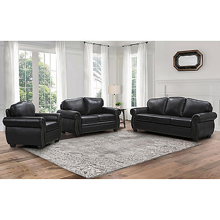 Sophia 3-Piece Top-Grain Leather Living Room Set, Dark Brown