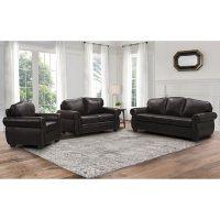 Sophia 3-Piece Top-Grain Leather Living Room Set, Dark Brown