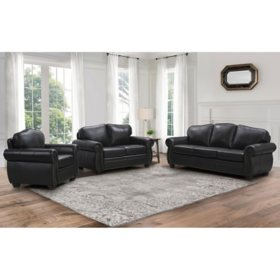 Sophia 4-Piece Top-Grain Leather Living Room Set, Dark Brown