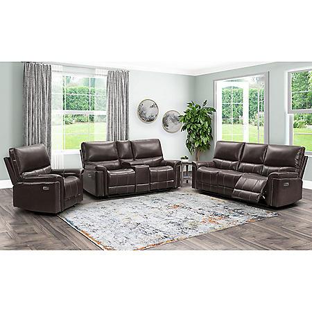 Boston 3-Piece Power Reclining Set - Sofa, Loveseat and Armchair (Brown)