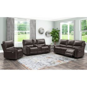Boston 3-Piece Power Reclining Set - Sofa, Loveseat and Armchair (Brown)