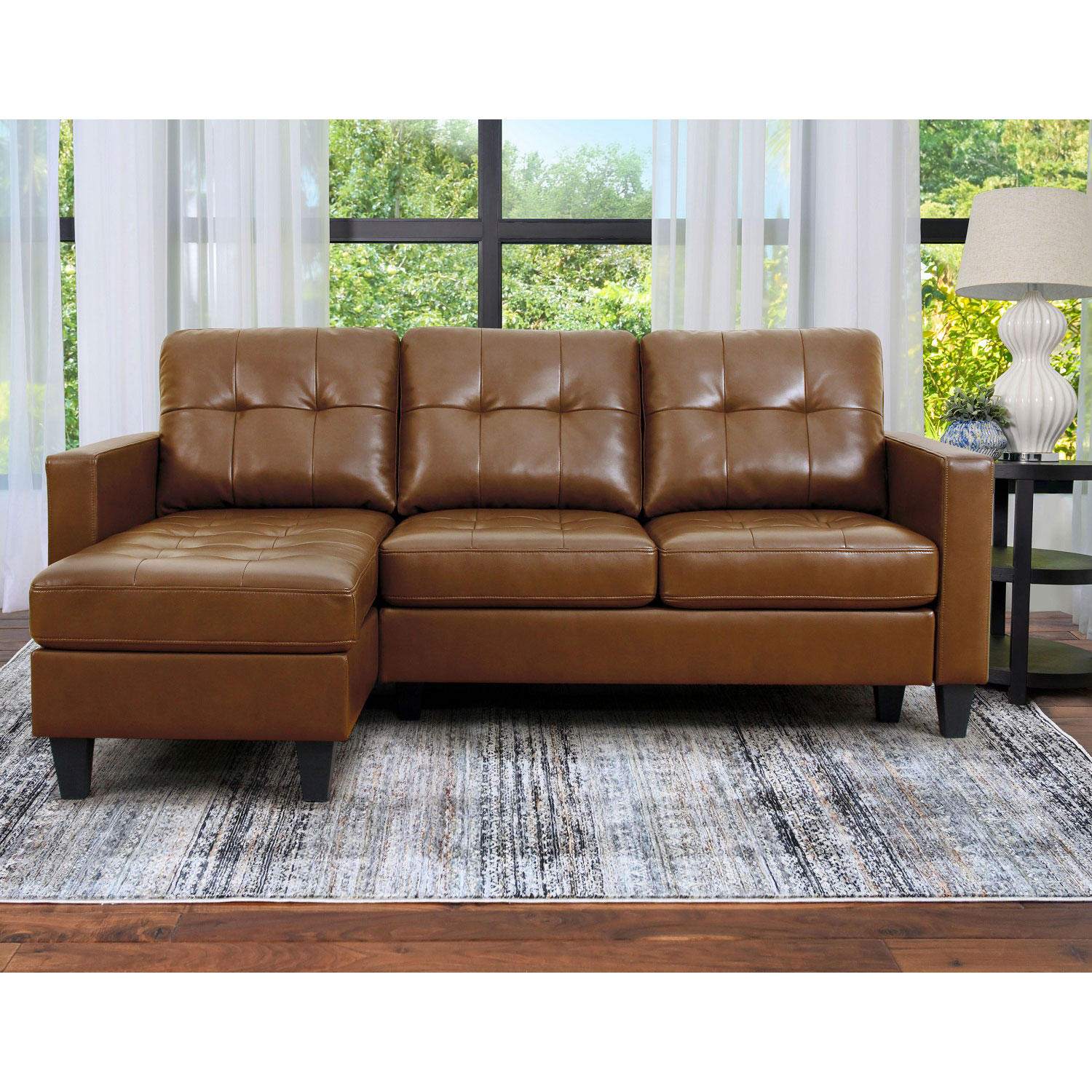 Abbyson Living KY-997B-BRN Ashbury Tufted Reversible Sectional (Assorted Colors)