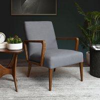 Jillian Linen Armchair, Light Gray