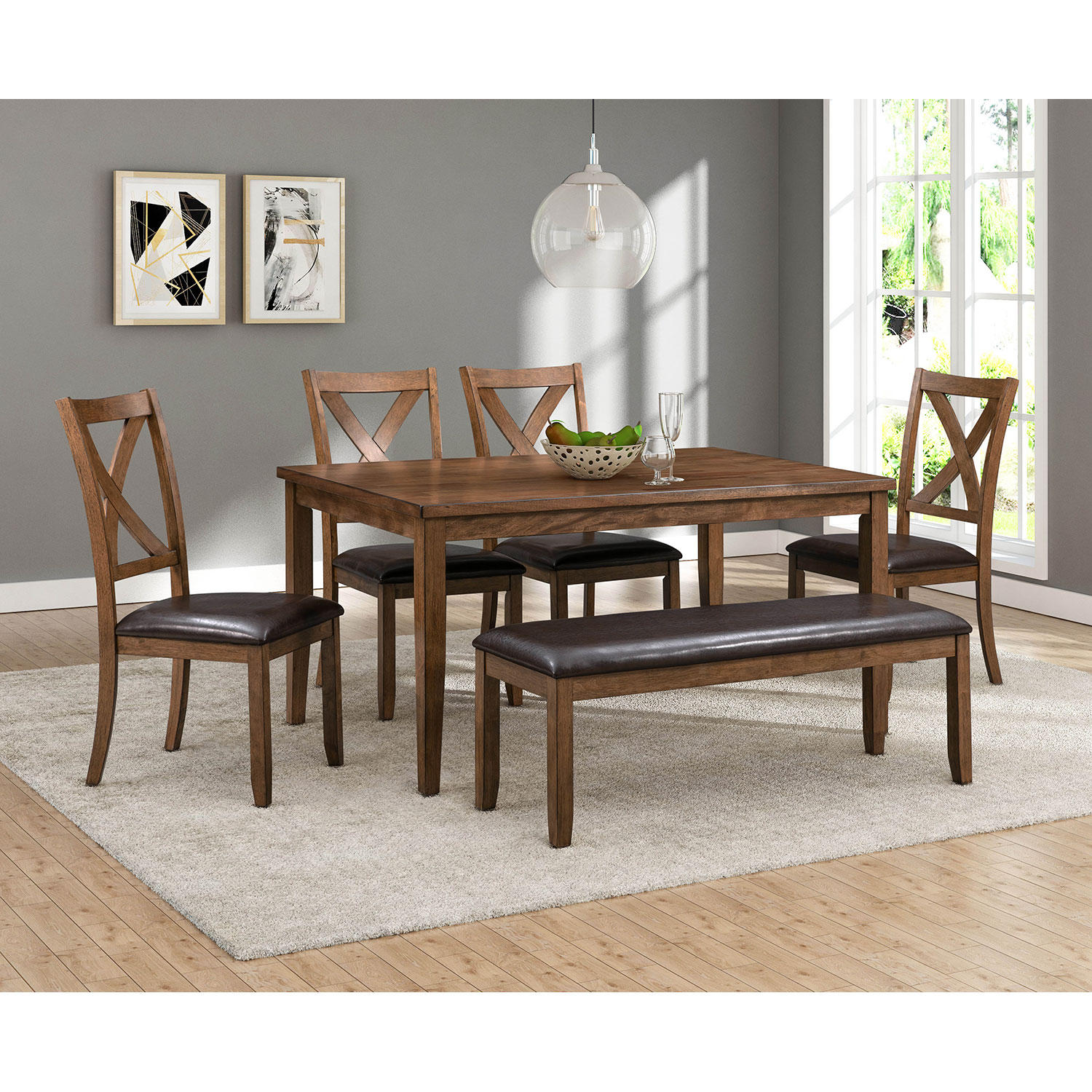 6-Piece Abbyson Living Reese Wood Dining Set with Bench