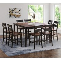 Wesley 9-Piece Counter Height Wood Dining Set