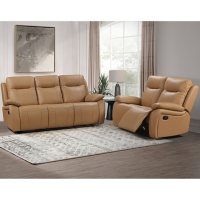 Riverside Top-Grain Reclining Sofa and Loveseat, Assorted Colors