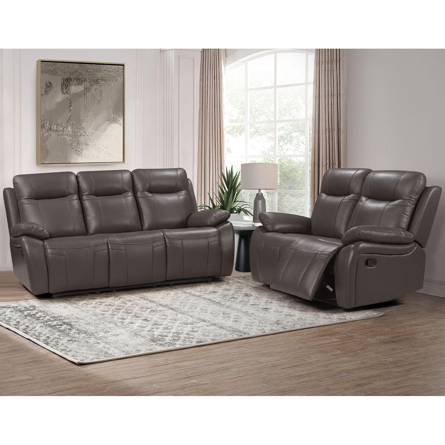 Abbyson Living Riverside Top-Grain Reclining Sofa and Loveseat (Assorted Colors)