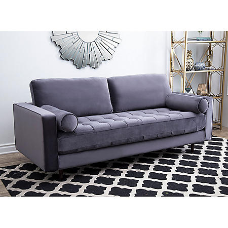 Gibson Tufted Velvet Sofa, Gray