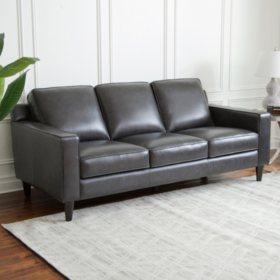 Kennedy Top-Grain Leather Sofa, Gray or Cream