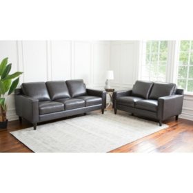 Kennedy Top-Grain Leather Loveseat and Sofa, Gray or Cream