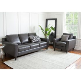 Kennedy Top-Grain Leather Armchair and Sofa, Gray or Cream