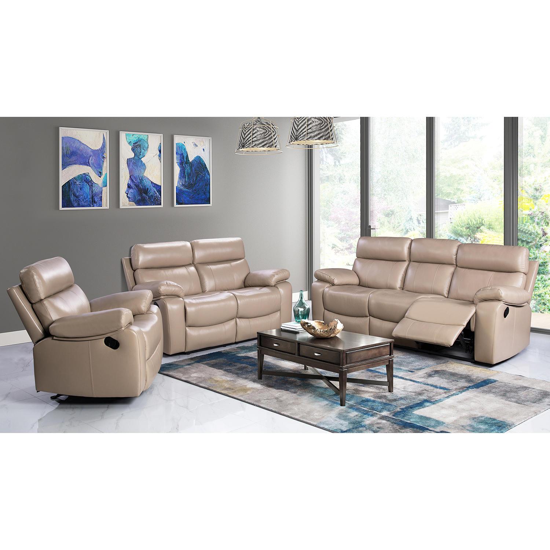 Strafford Top-Grain Leather 3 Piece Reclining Sofa Set