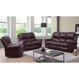 Vincent Top-Grain Leather Reclining 3-Piece Set