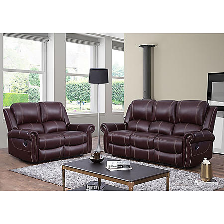 Vincent Top-Grain Leather Reclining Loveseat and Sofa