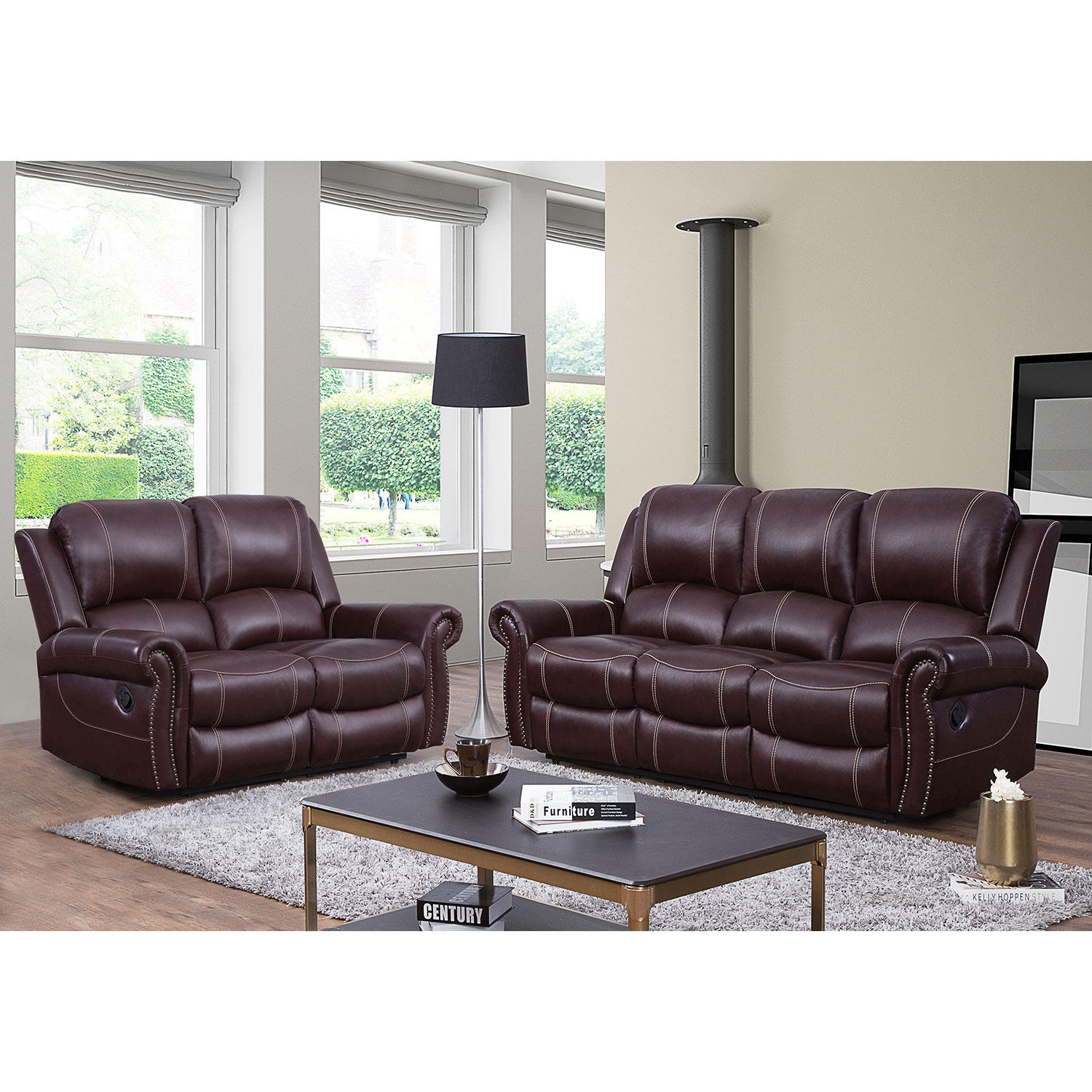 Abbyson Living Vincent Top-Grain Leather Reclining Loveseat and Sofa