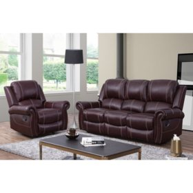 Vincent Top Grain Leather Reclining Armchair and Sofa