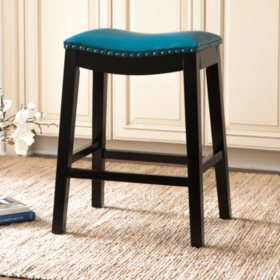 Emery Bonded Leather Saddle Stool, Assorted Colors and Sizes