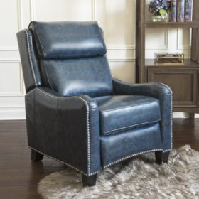 Astounding Oliver Top Grain Leather Pushback Recliner Navy Blue Gmtry Best Dining Table And Chair Ideas Images Gmtryco