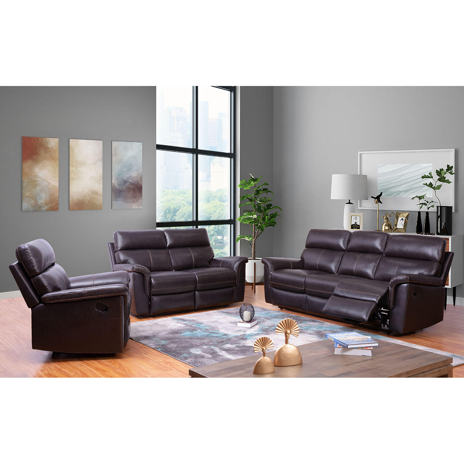 Franklin Top-Grain Leather 3-Piece Reclining Sofa Set