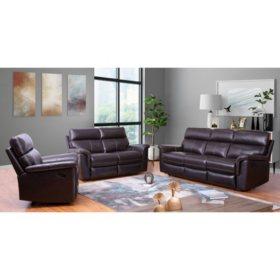 Franklin Top-Grain Leather 3-Piece Reclining Sofa, Loveseat ...