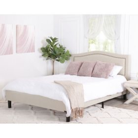 Ellie Cream Linen Upholstered Queen Platform Bed, Curved
